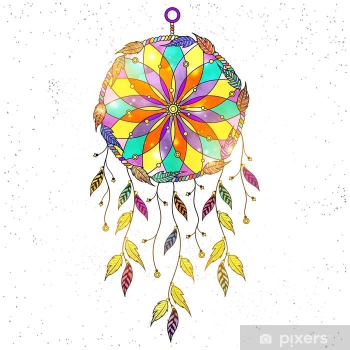 rideau occultant attrape reves dessines a la main style boheme avec motif floral ethnique fleche et plumes pixers nous vivons pour changer