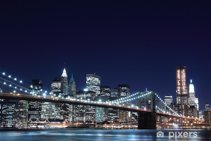 Fototapete Brooklyn Bridge und Manhattan Skyline At Night