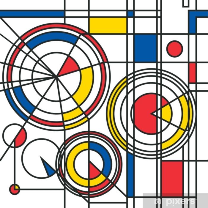 sticker motif abstrait bleu rouge jaune