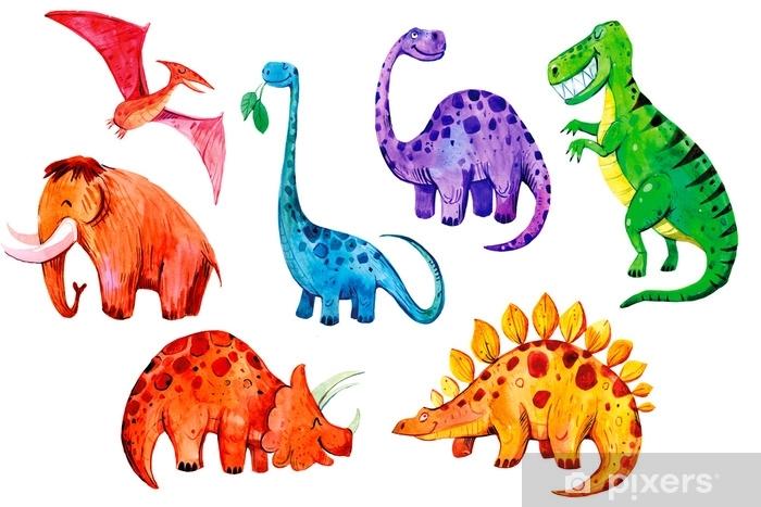 carta da parati autoadesiva, non necessita di collanti aggiuntivi. Carta Da Parati Set Di Dinosauri Acquerelli Del Fumetto Illustrazione Disegnata A Mano Ottimo Per I Tessuti Per Bambini E La Stampa Pixers Viviamo Per Il Cambiamento