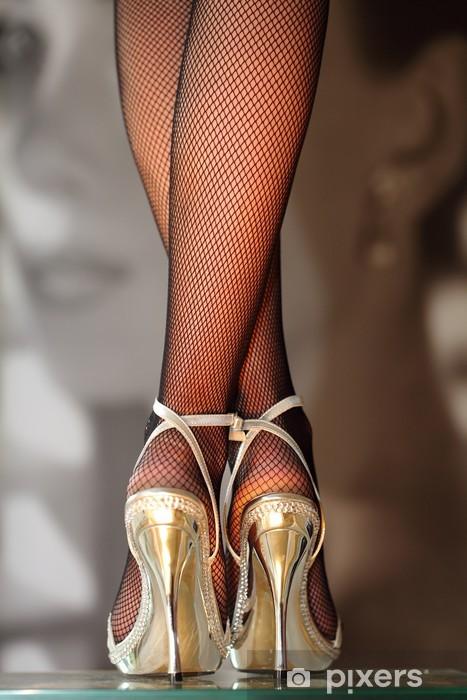 Fototapete Sexy Frau in goldenen HighHeels  Pixers