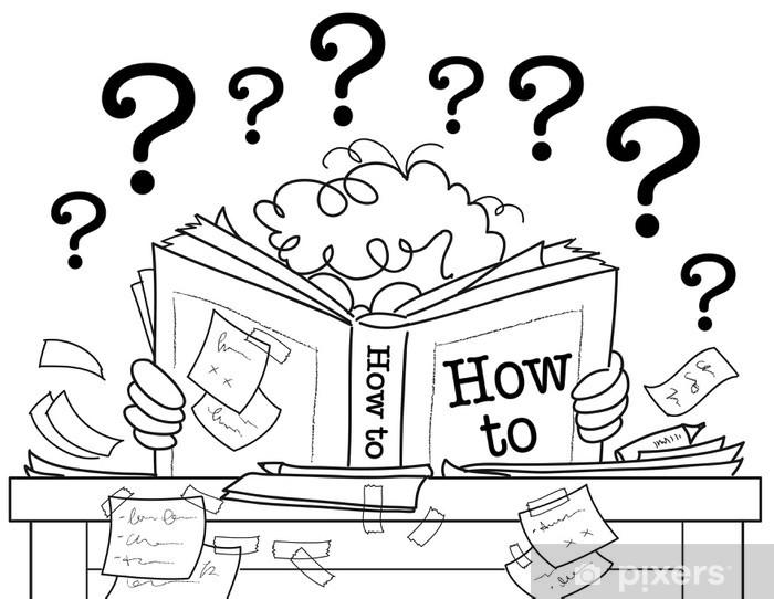 Fotomural Niño leyendo un manual con muchas dudas • Pixers