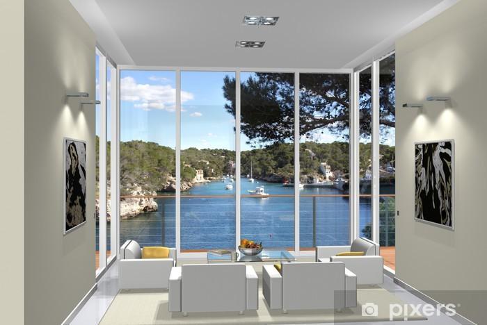 Carta da Parati 3d rendering living room window bay