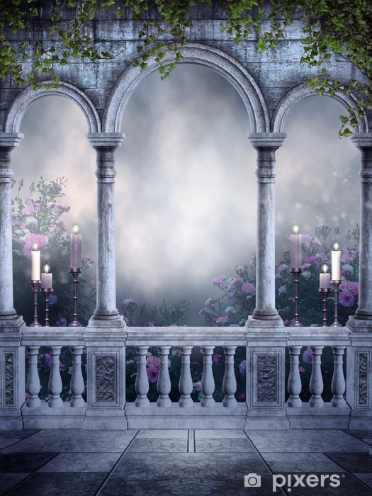 Fototapete Gothic Balkon mit Rosen und Kerzen  Pixers  Wir leben um zu verndern