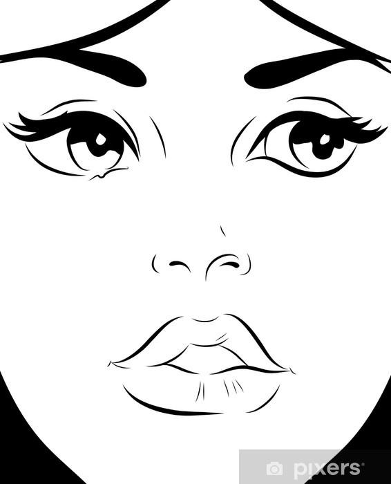Visage Femme Noir Et Blanc : visage, femme, blanc, Croquis, Blanc, Visage, Femme, Mural, Pixers®, Change