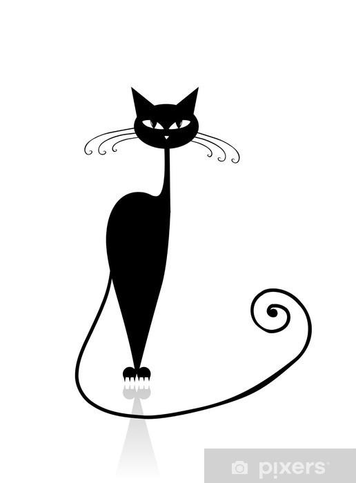 https fr pixers ch stickers silhouette de chat noir pour votre conception 32019944