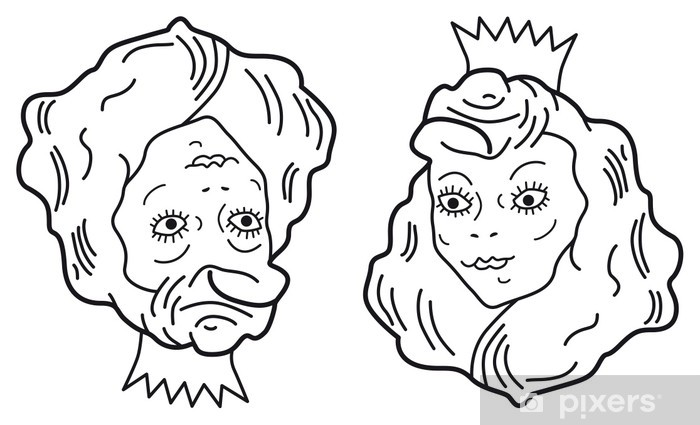 Aufkleber Optische Tuschung Junge schne Prinzessin oder hssliche alte Frau  Pixers  Wir