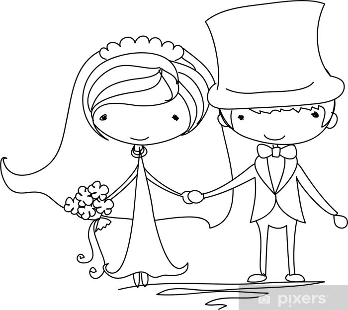 Fototapete Hochzeit Braut und Brutigam Cartoon  Pixers