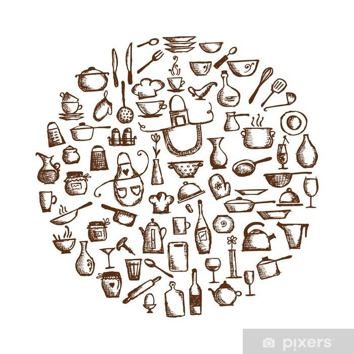 poster ustensiles de cuisine dessin croquis pour votre conception pixers nous vivons pour changer