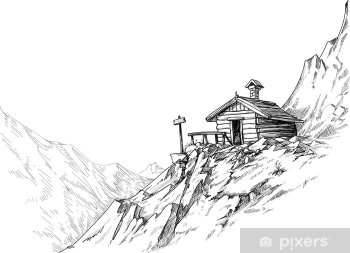 Aufkleber Berghtte Skizze  Pixers  Wir leben um zu verndern