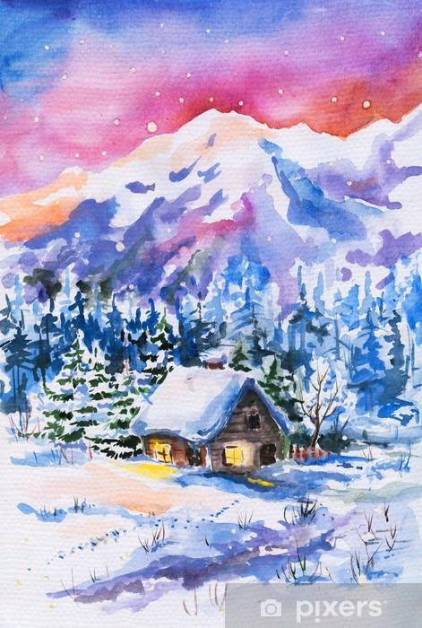 Adesivo Acquerello paesaggio invernale dipinto  Pixers