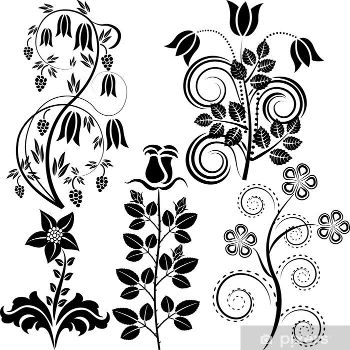 vector flowers wall mural