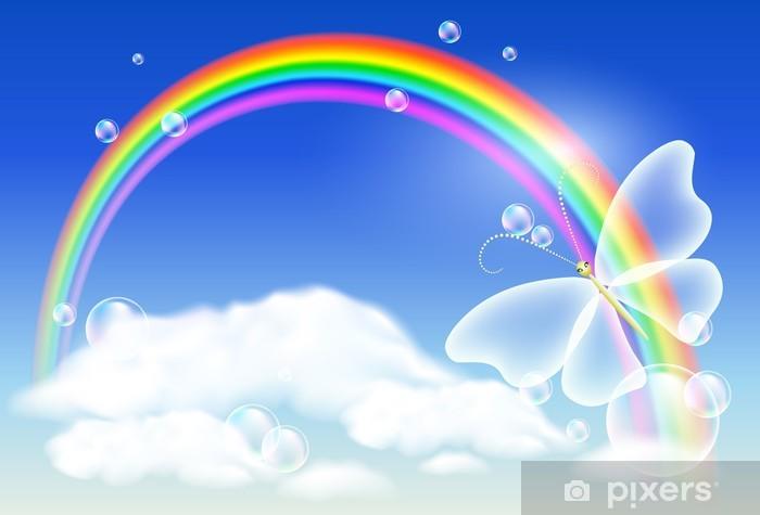 sticker arc en ciel et papillon pixers nous vivons pour changer