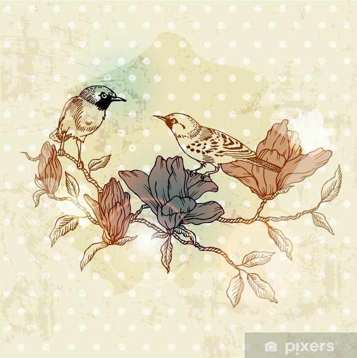 Ce ne sono di ogni genere, da quelle tridimensionali alle proposte più paesaggistiche e ispirate alle grandi opere d'arte del passato. Carta Da Parati Scheda Vintage Spring Con Uccelli E Fiori Disegnato A Mano In Formato Vettoriale Pixers Viviamo Per Il Cambiamento