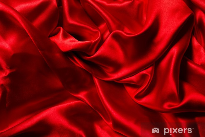 Red silk background A lot of crumpled folds Wall Mural