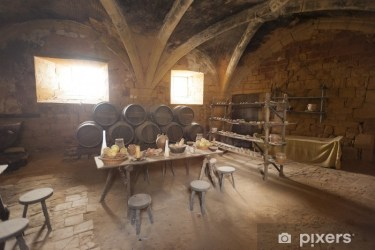 Medieval kitchen and dining area in old castle in France Wall Mural • Pixers® We live to change