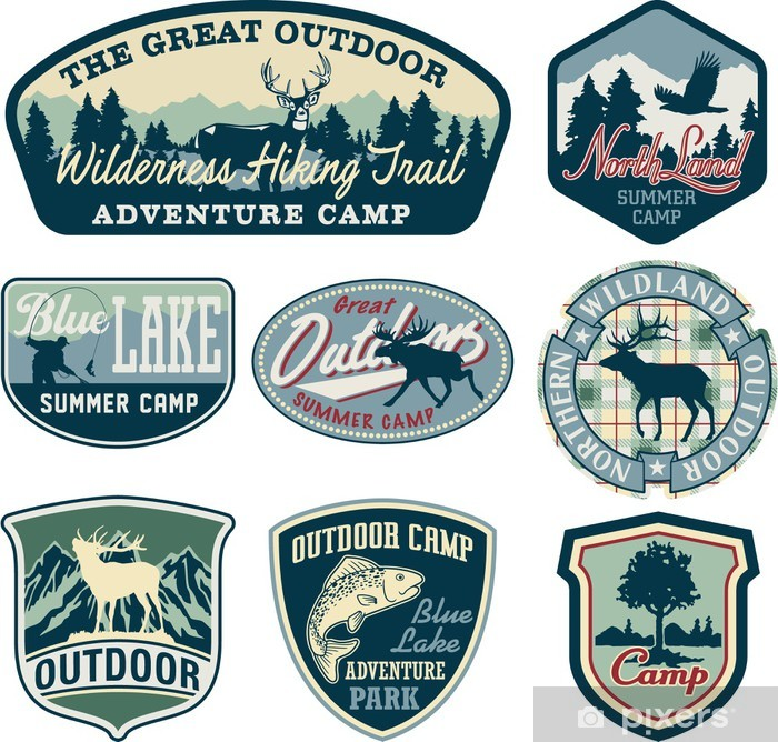 outdoor camping badges poster