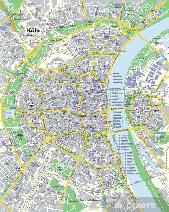 Fototapete Stadtplan Kln  Pixers  Wir leben um zu