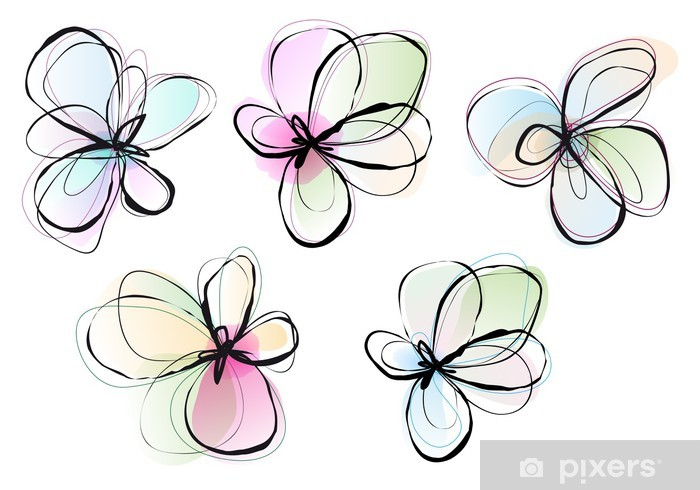 abstract watercolor flowers vector