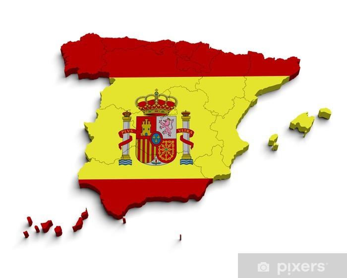 Aufkleber 3d Spanien Flagge Karte auf wei  Pixers  Wir