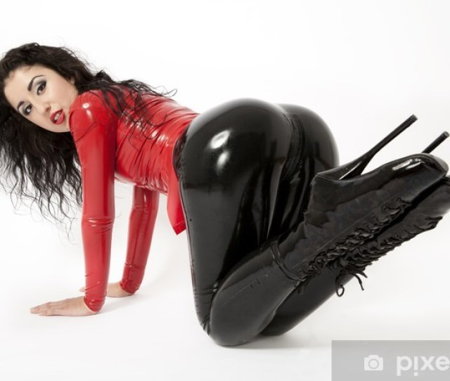 Sexy Flexible Brunette Woman In Black And Red Latex And Boots Vinyl Wall Mural Women