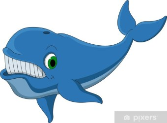 cute blue whale cartoon Wall Mural • Pixers® We live to change