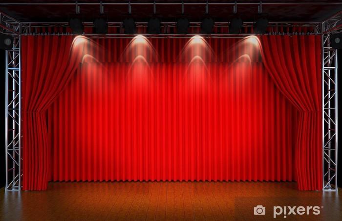Fototapete Theater Bhne mit roten Vorhngen und