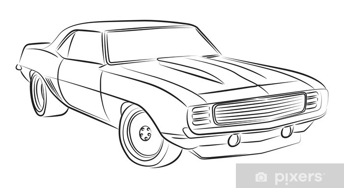 Muscle car drawing Wall Mural • Pixers® • We live to change