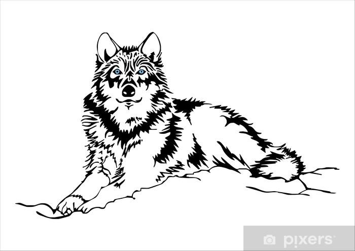 Fototapete Wolf sitzen Skizze Vektor  Pixers  Wir leben