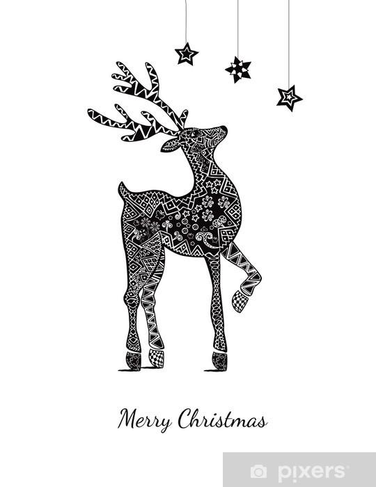 https pixers fr stickers carte de voeux de noel avec des cerfs sur blanc 56415317