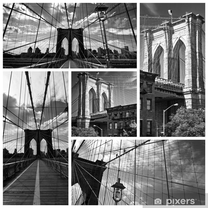 Poster Collage Pont De Brooklyn Noir Et Blanc Usa Pixers Wir Leben Um Zu Verandern