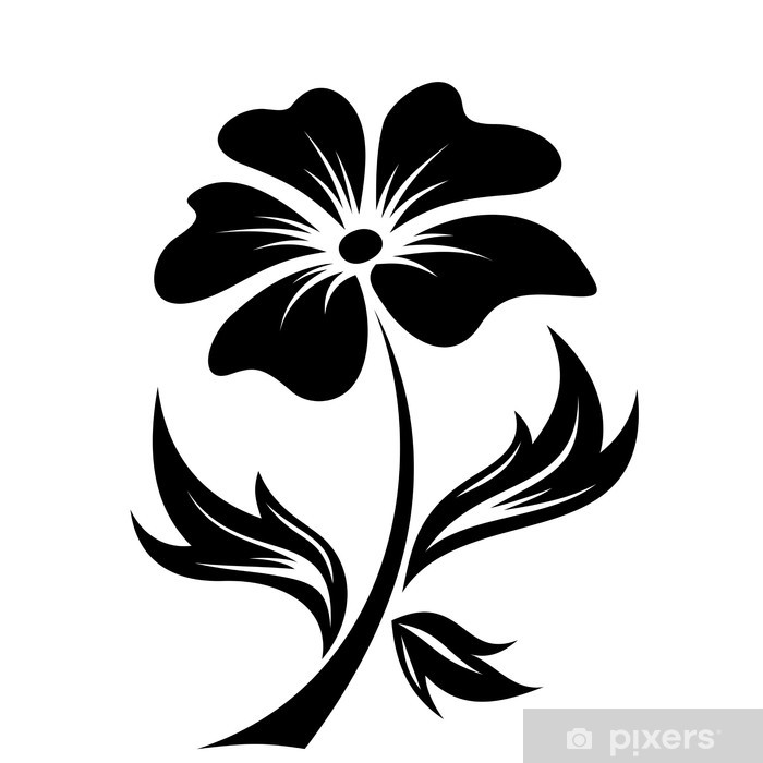 Fototapete Schwarz Silhouette der Blume Vektor