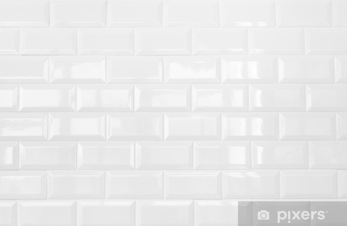 Vinilo Pixerstick Blanco de cermica de pared de azulejos de ladrillo fondo  Pixers  Vivimos