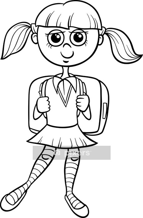 primary school girl coloring book Wall Decal • Pixers