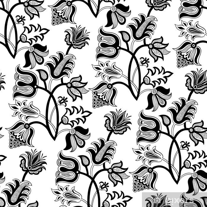 rideau occultant noir et blanc floral seamless pixers nous vivons pour changer