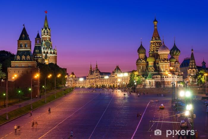 Fototapete Kreml Roter Platz und BasiliusKathedrale in
