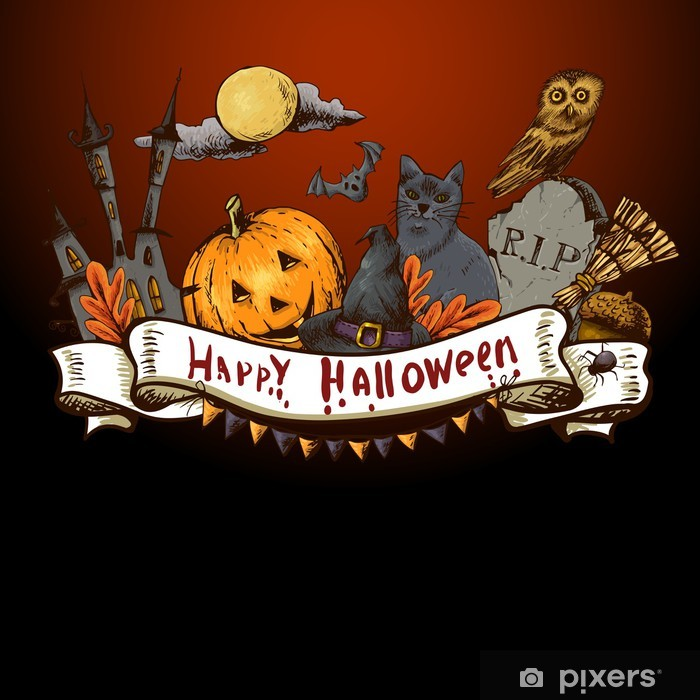 https pixers fr posters halloween hand drawn carte d 39 invitation 70181658