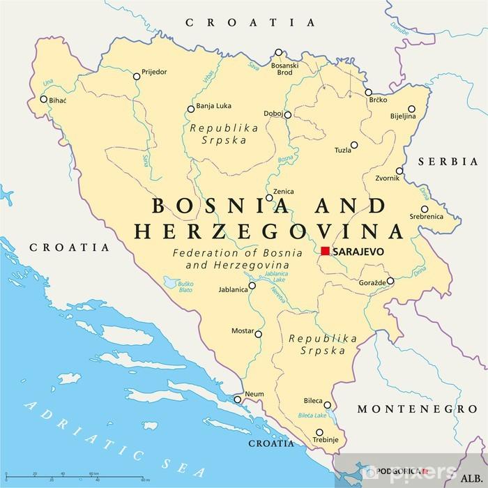 Fototapete Bosnien und Herzegowina politische Karte