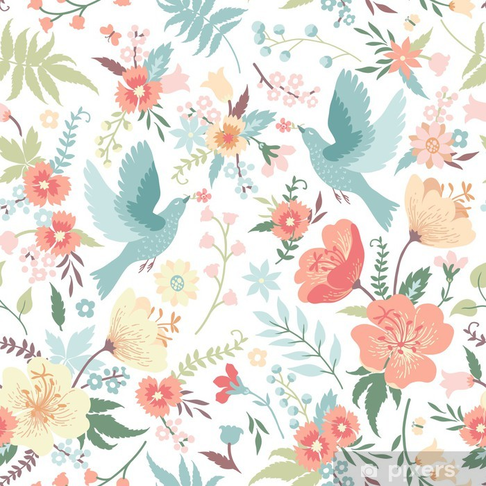 I motivi orientali e i fiori giapponesi sono elementi decorativi che evocano sensazioni di calma e libertà. Carta Da Parati Seamless Pattern Con Uccelli E Fiori Pixers Viviamo Per Il Cambiamento