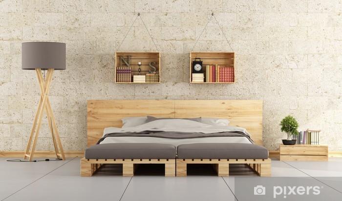 papier peint chambre moderne avec lit de palette sur le mur de briques pixers nous vivons pour changer