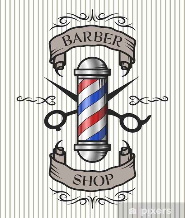 Barber shop emblem Wall Mural  Pixers  We live to change