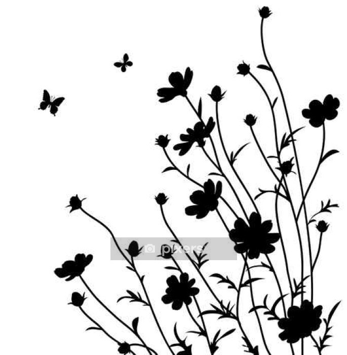 Summer garden. Flowers silhouette Wall Decal • Pixers