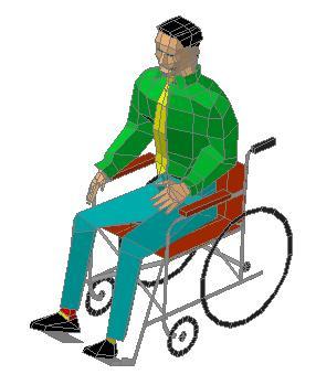 Planos de Persona en silla de ruedas 3d en Personas