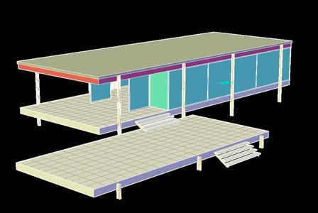 Planos de Casa farnsworth en DWG AUTOCAD Obras famosas