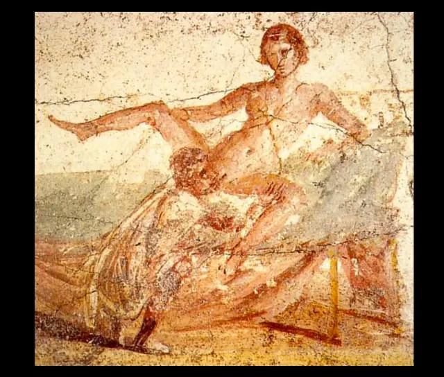 Fresco erótico descubierto en Pompeya.-