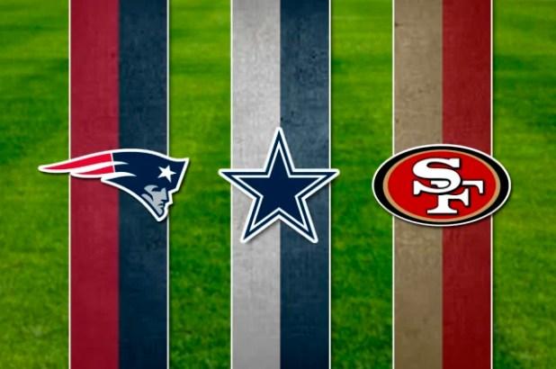 Los Patriotas de Nueva Inglaterra (LI, XLIX, XXXIX, XXXVIII, XXXVI), Vaqueros de Dallas (XXX, XXVIII, XXVII, XII, VI) y los 49ers de San Francisco (XXIX, XXIV, XXIII, XIX, XVI) comparten el segundo lugar en la lista con 5 victorias en Super Bowls, pero en este Super Bowl LIII los Patriots de Tom Brady y Bill Belichick tendrá la oportunidad de empatar con los Steelers con más victorias.Los Patriots también son el equipo que más veces participó en el último partido de la zafra y empatan con los Denver Broncos como los que más veces lo han perdido (5 ocasiones).
