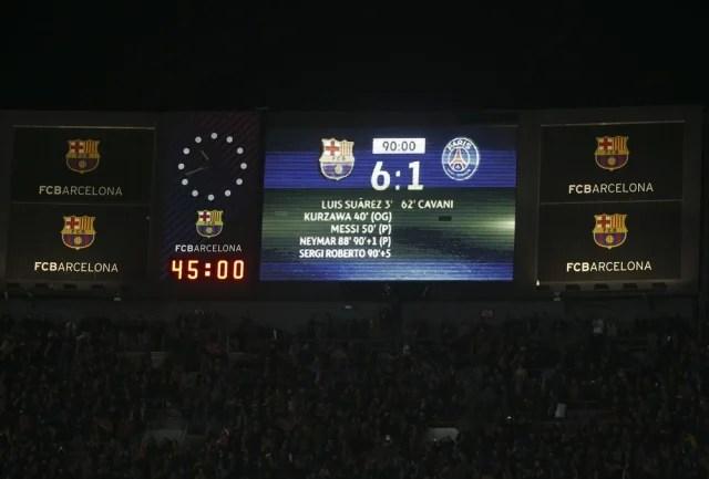 Na ida, o PSG venceu por 4 a 0 e (achou que) deixou a classificação encaminhada para as quartas de final. Na volta, o Barça abriu 3 a 0, mas viu a reação esfriar com o gol de Cavani (que obrigaria os anfitriões a fazer outros três). Foi quando brilhou a estrela de Neymar, autor de dois gols e uma assistência nos minutos finais de uma das mais épicas classificações da Champions. (Foto: Reuters)
