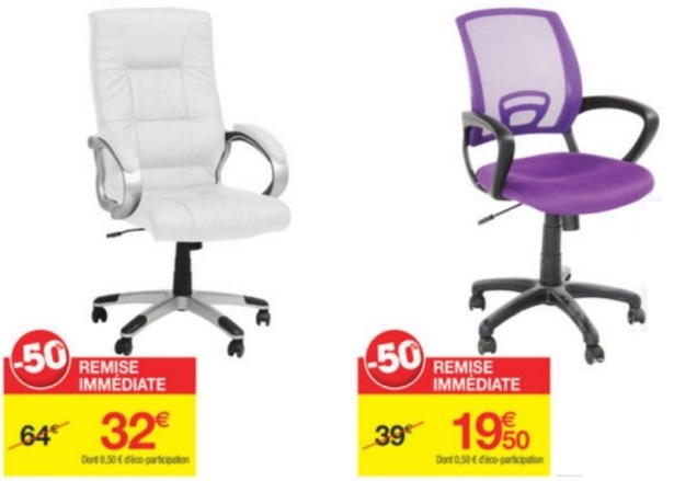 Soldes Carrefour Hiver 2016 Fauteuil Manager Blanc 32