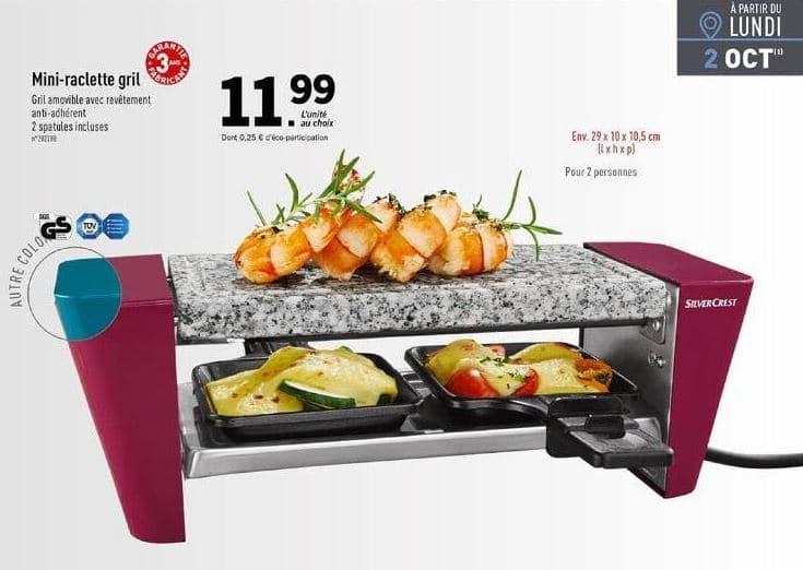 lidl mini raclette gril pour 2