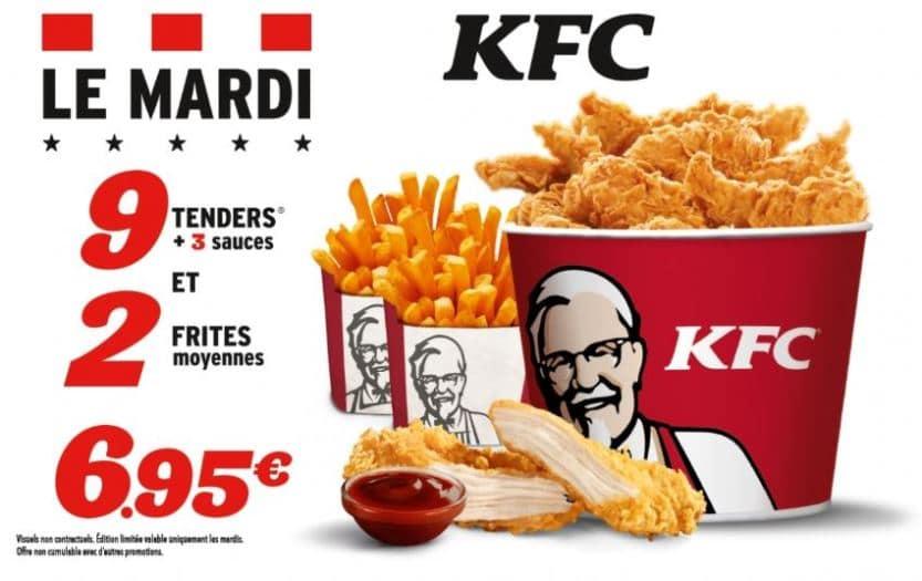 KFC Mardi  menu complet  695 tower frite boisson tenders et dessert